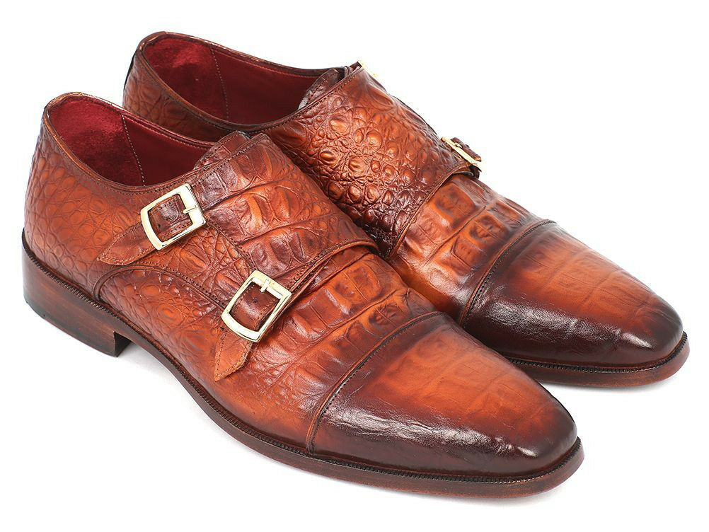 Paul Parkman Uomo Doppio Monkstrap Marrone Coccodrillo Vitello in rilievo (ID#PP2280