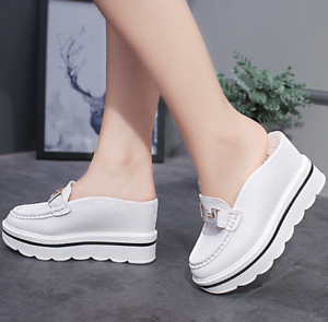 Womens-Slip-On-Leather-Creepers-Wedge-High-Heels-Sandals-Platform-Beach-Shoes