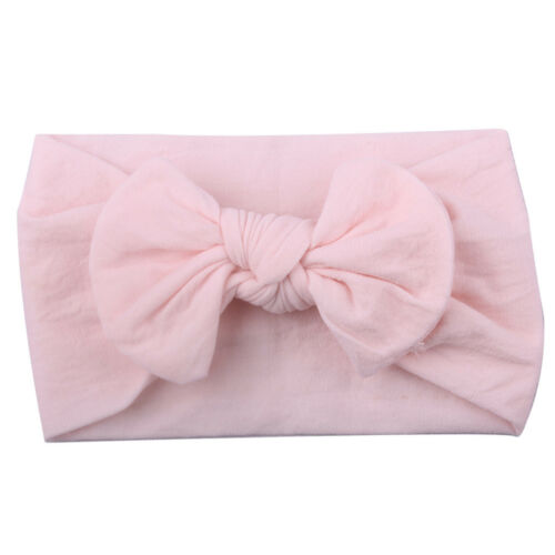Kids Girls Baby Toddler Turban Solid Headband Hair Band Bow Accessories Headwear