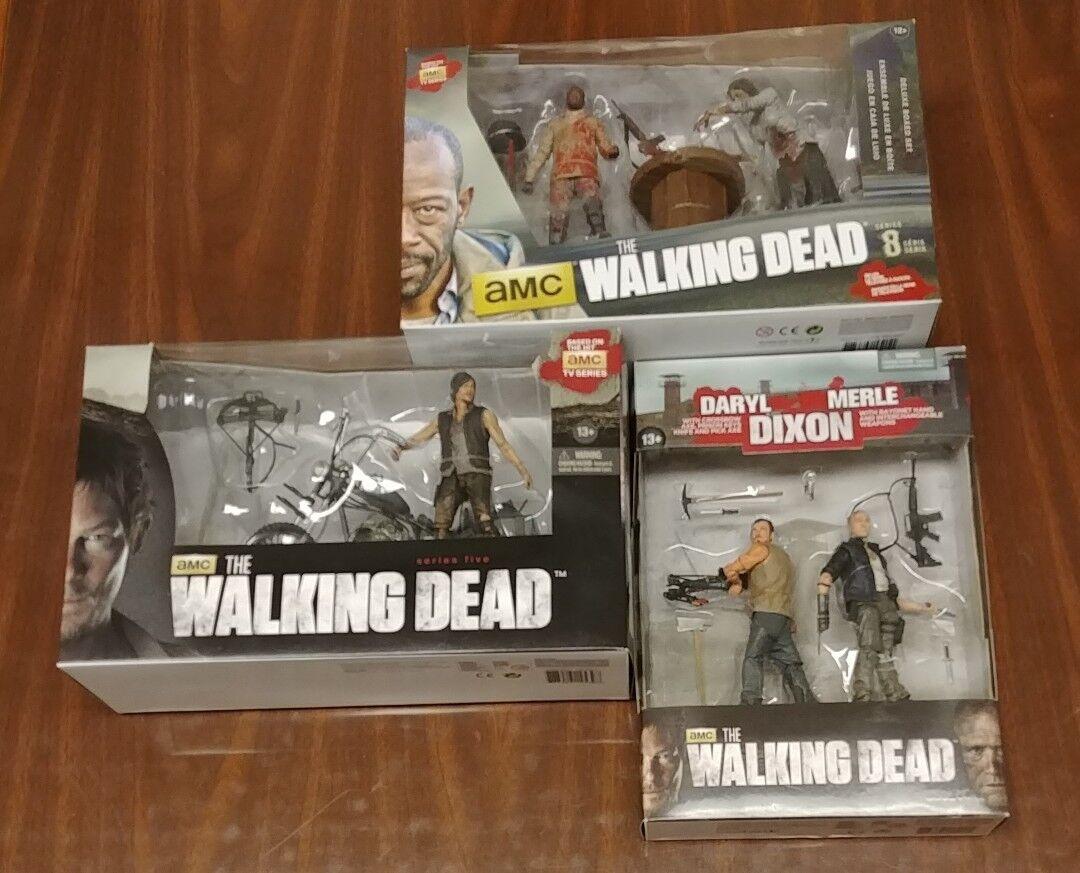 3 NEW The Walking Dead Merle & Daryl Dixon w Chopper Morgan Walker - McFarlane