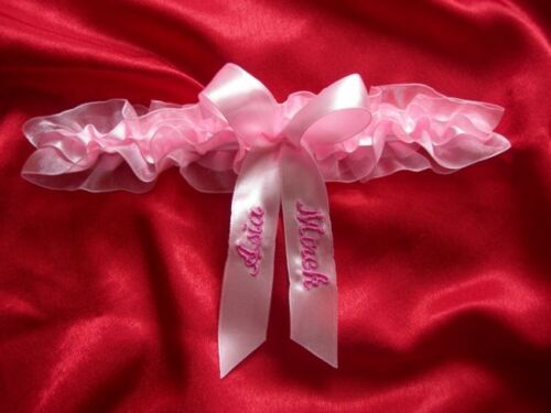 Wedding garter bridal garter hen// stag night 6 colours PERSONALISED