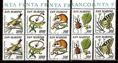 blumen Und Fauna Nr Streng San Marino Paar Serie 1216-1220 Briefmarken Neu H112