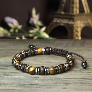 * New STYLE Tibétain Bracelet Homme/Femme perles Pierres Gemmes Bois Coco Inox