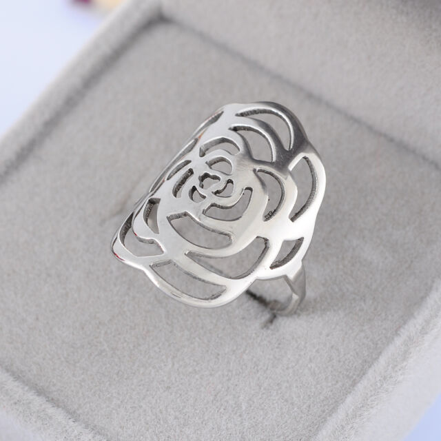 1PC Stainless Steel 2mm Wide Women's Silve Tone Hollow Rose Flower Ring