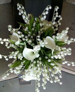 Image Is Loading 4pc White Wedding Bouquet Bridal Silk Flowers Calla