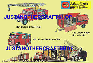 Corgi-Toys-Chipperfields-Circus-426-1121-1123-Poster-A3-Size-Leaflet-Shop-Sign