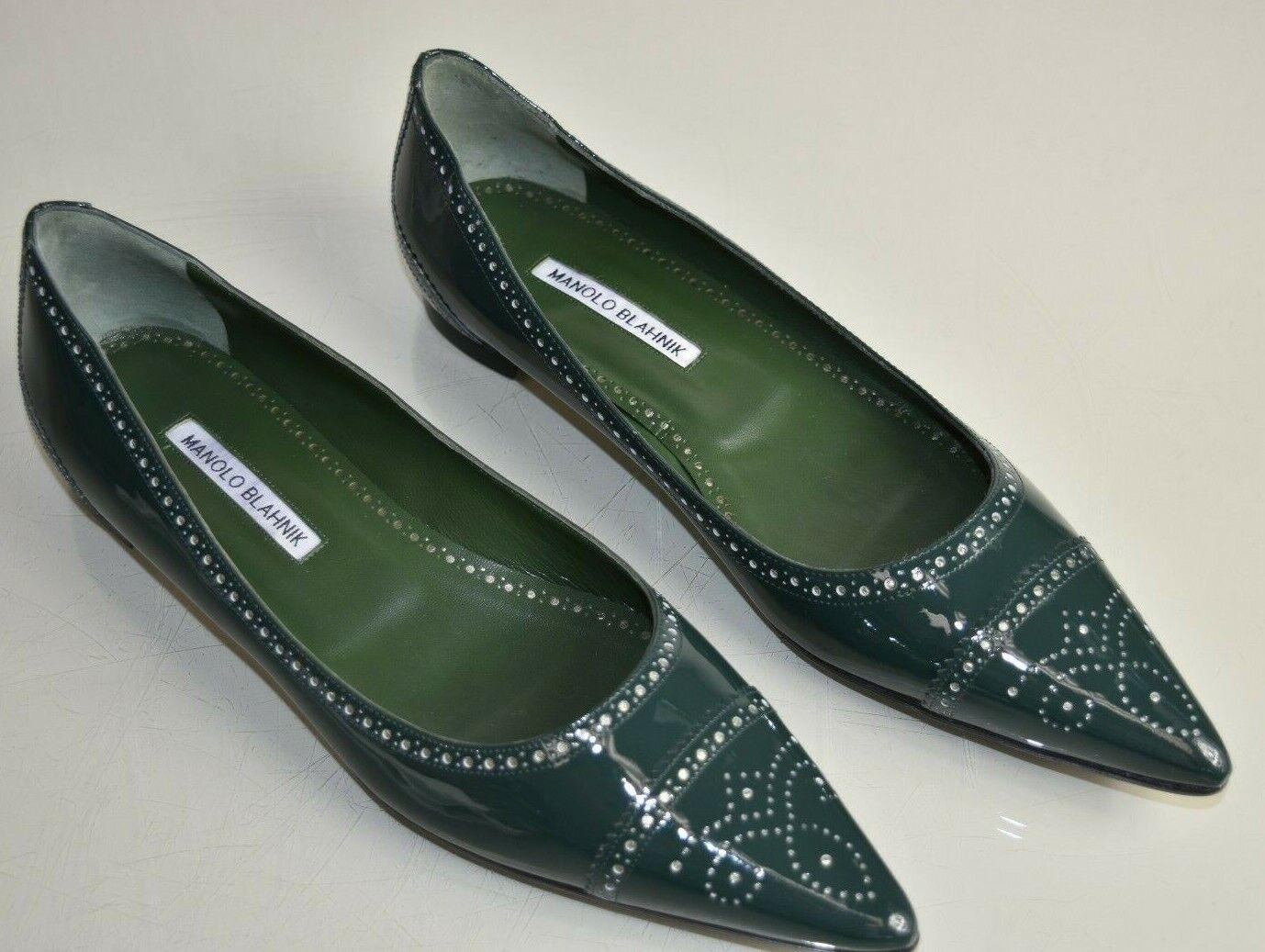 Schuhe 41 40 BB Flach Grün Lackleder Halbschuhe Petunia