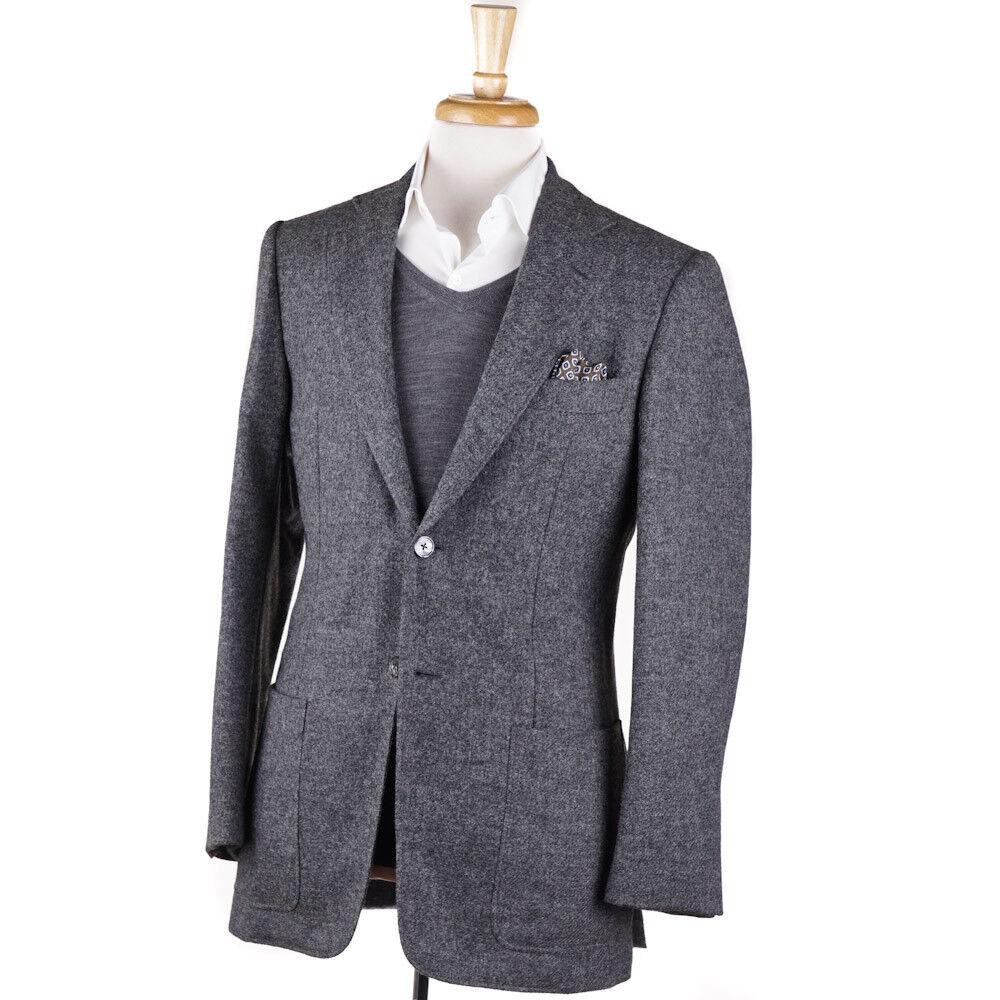 New 2995 D'AVENZA Woven grau Melange Tweed Wool Sport Coat 38 R (Eu 48)