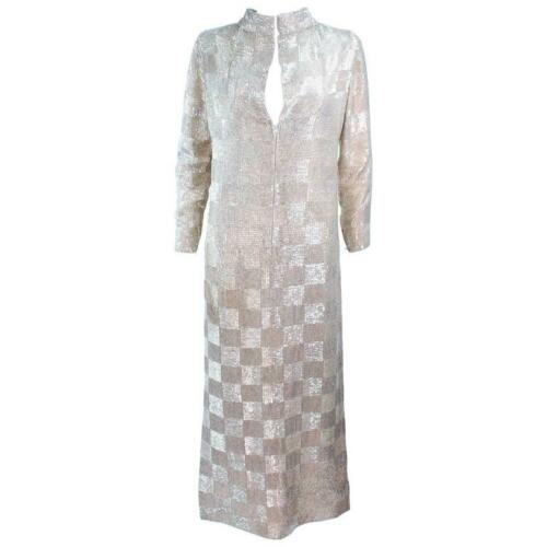 DONALD BROOKS Silver Glass Beaded Gown Size 4