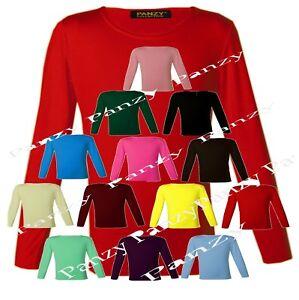 4e381f66b La imagen se está cargando Chicas-Manga-Larga-Llano-Basico-Top-Camiseta- Ninos-