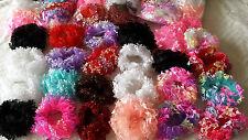 Joblot 60 pcs Mixed colour lacy hair scrunchies NEW wholesale style A