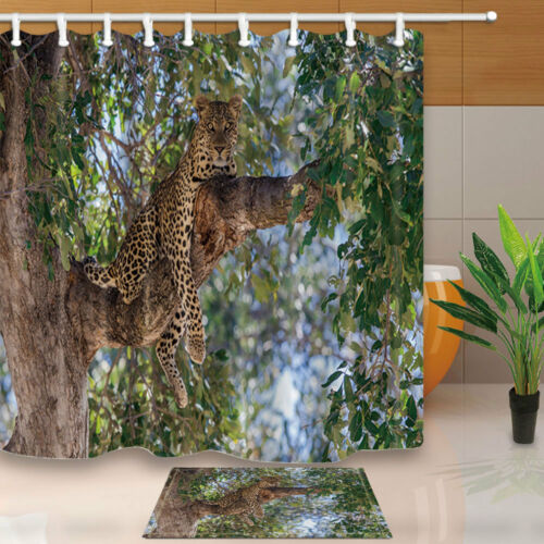 Leopard Lying on the Branches Forest Wild Animal Waterproof Shower Curtain Rugs