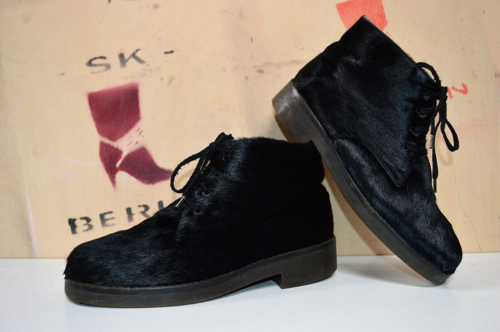 Fur Lace Up Ankle Boot Boots M + S Gallus Fashion True Vintage Western Germany Fur