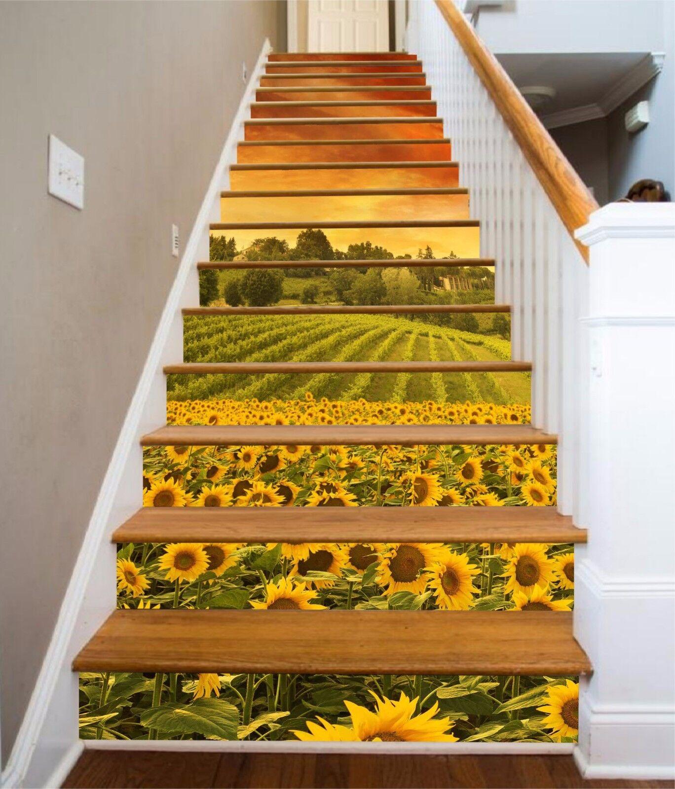 3D Sunflower Plant 648 Risers Decoration Photo Mural Vinyl Decal Wallpaper CA
