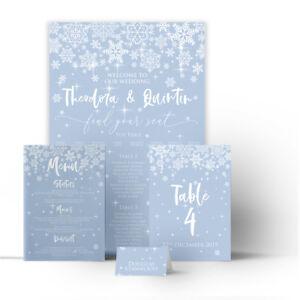 Christmas Winter Wedding Snowflake Seating Plan Table Chart Menus