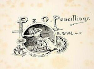 ANTIQUE-RARE-BOOK-P-amp-O-Pencillings-W-W-Lloyd-London-1891-Perfect-Condition
