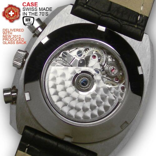 SET CASE STAINLESS STEEL 70/'S,40MM FOR MOVEMENT VALJOUX 7750+NEW DIAL+NEW HANDS