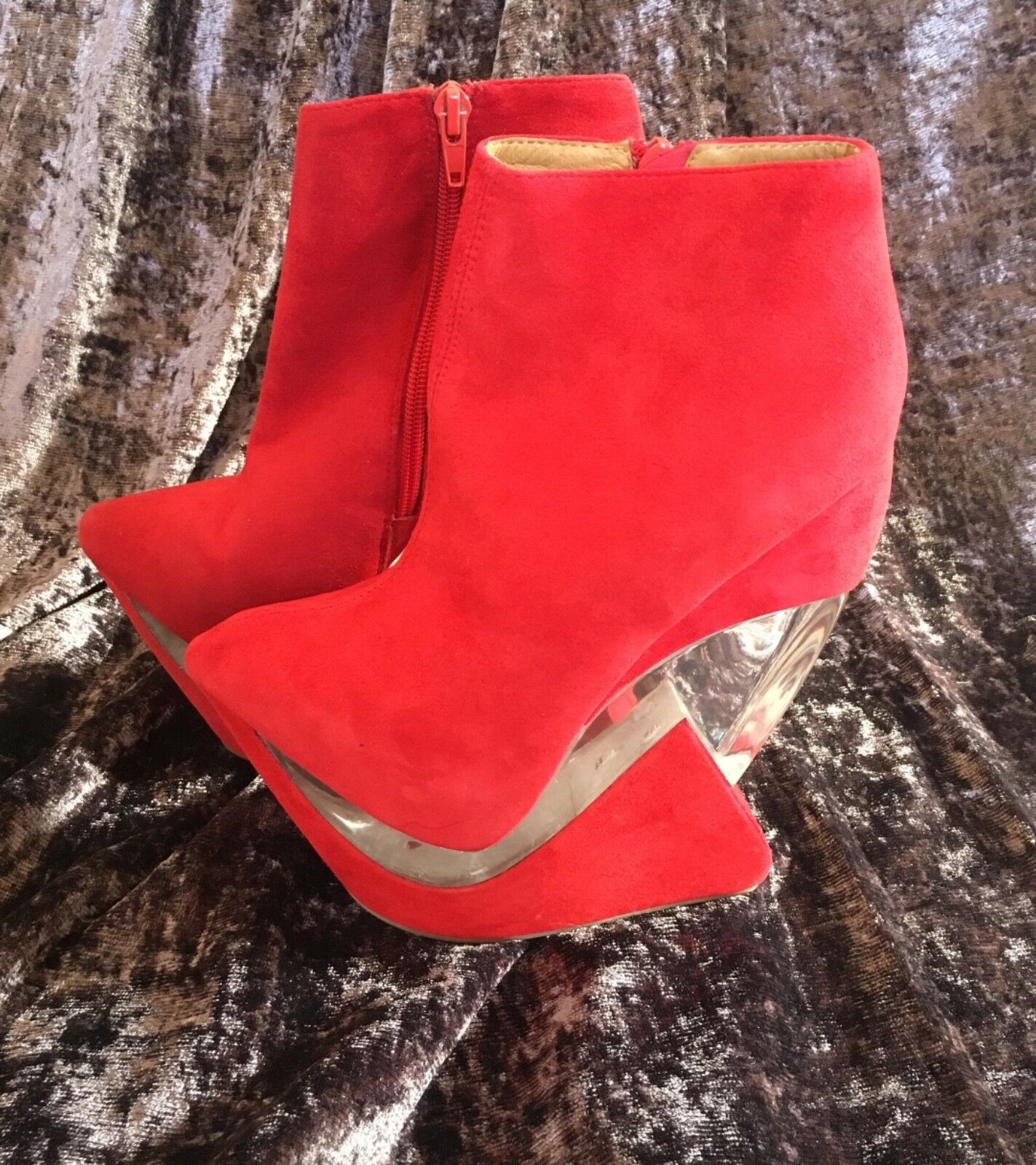 Jeffrey campbell red suede zoom platform wedge boots size 3 new in box