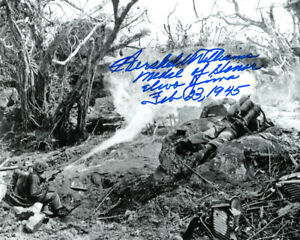 HERSHEL WILLIAMS SIGNED 8x10 PHOTO MEDAL OF HONOR IWO JIMA WWII MOH BECKETT BAS