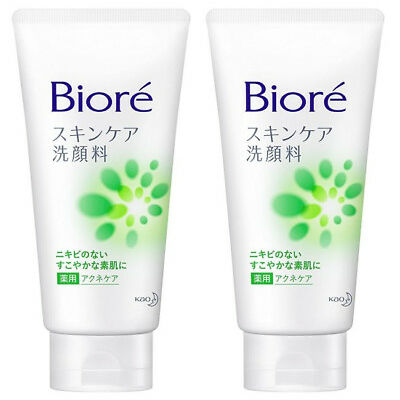 2 pcs Kao Biore Skin Care Face Wash Facial Cleanser Acne Care 130g from Japan