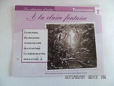 CARTE FICHE PLAISIR DE CHANTER TRADITIONNEL A LA CLAIRE FONTAINE