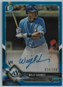2018 Bowman Chrome Willy Adames Blue Refractor Rookie Auto #'d 074/150 Rays RC