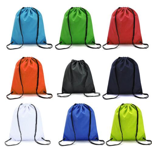 String Drawstring Backpack Cinch Sack Gym Bag Solid Color School Sport Shoe Pack