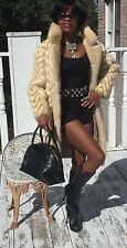 Designer ermine white blond & light beige Mink Fur coat jacket stroller S-M 0-8