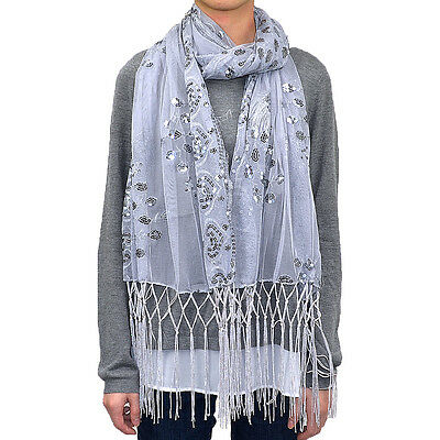 Sequin Shawl Peacock Heart Scarf Wrap Fringe Fashion Gift Elegant Embellish