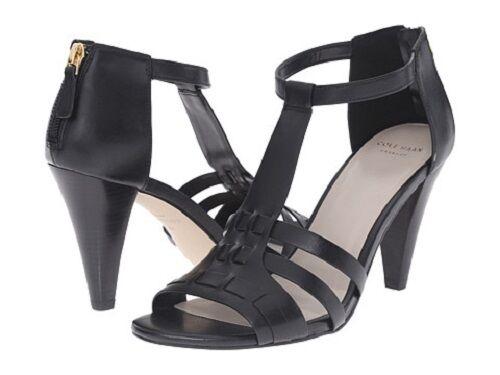 New Cole Haan Wouomo Cady High Sandal II nero Leather Sz 9.5B