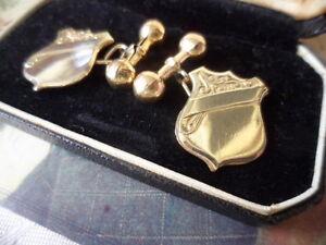 Antique-Vintage-Jewellery-9ct-Gold-Cuff-Links-Shield-Dumb-Bell-Cufflinks-Jewelry