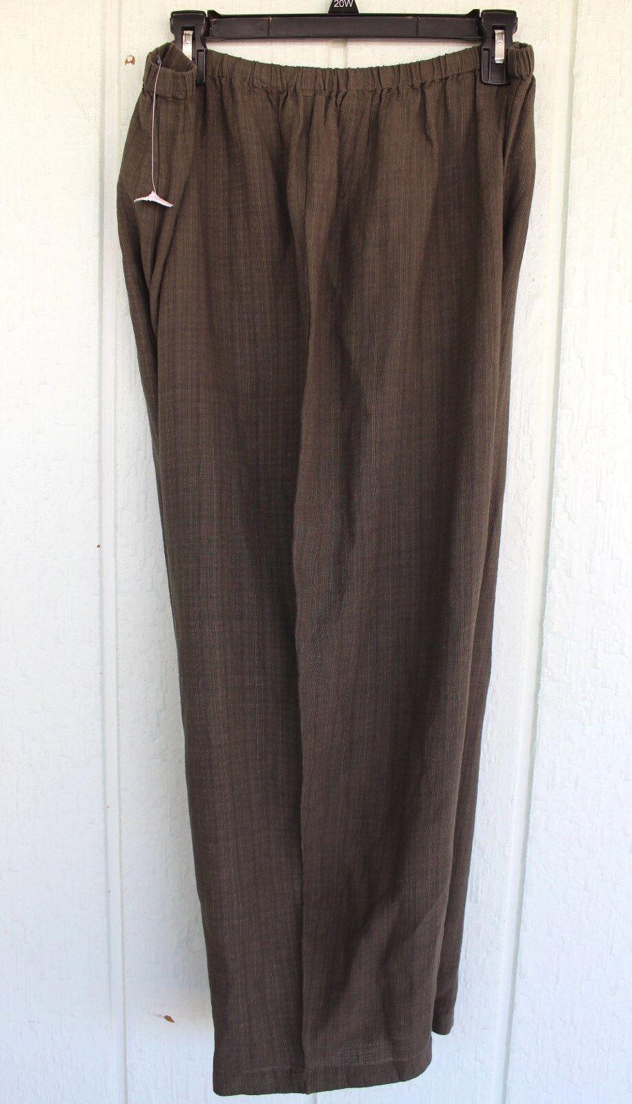 NWT EILEEN FISHER WOMAN 1X Taupe Washable Crepe Viscose Linen Capri Pants
