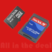 Sandisk 4GB 4 GB Micro SD SDHC Class 4 Memory Card with MicroSD to SD Adapter