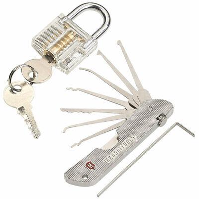 Faltbar mini Multipick Lock Lockpicking Taschenformat Silber Schloss Öffnen 6in1