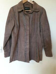 Beth-Terrell-Brown-Leather-Patterned-Coat-Size-S-8-10-12