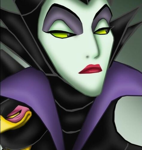 Maleficent Face 8x8 Cartoon Villian Quilters and Craft Cotton Fabric Block Panel