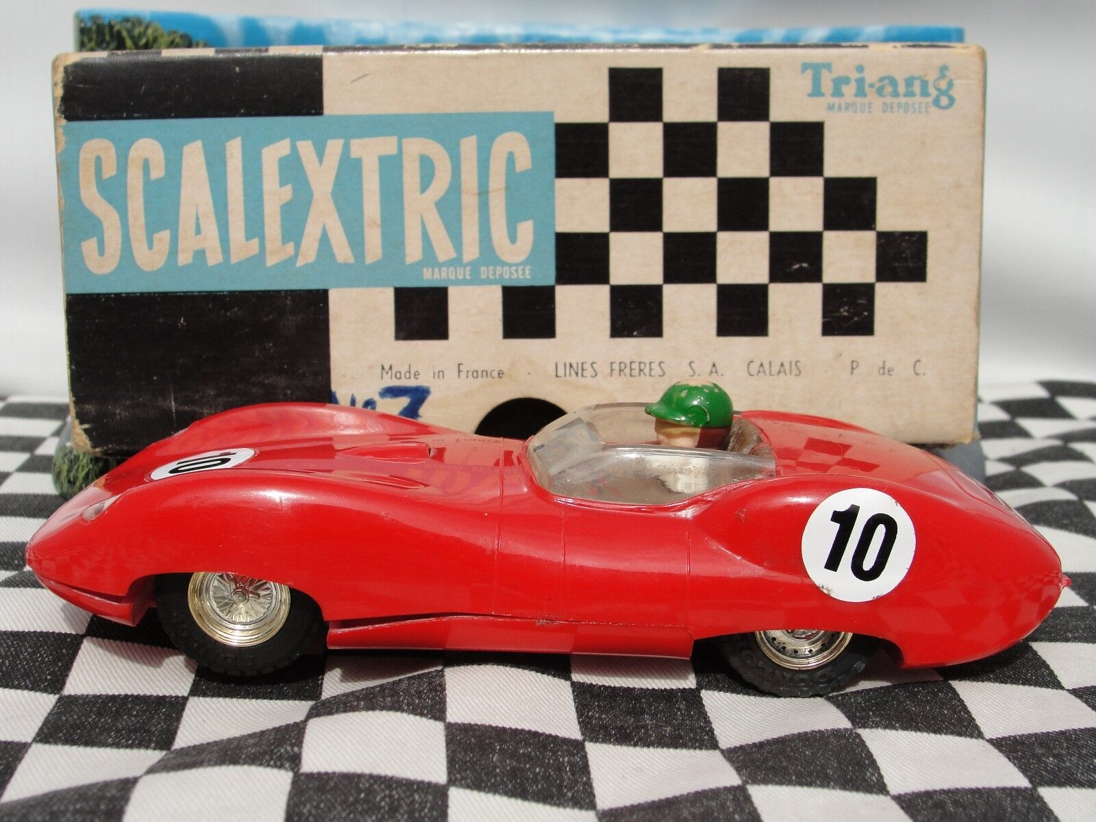 SCALEXTRIC 1960'S LISTER JAGUAR RED C56 1 32 SLOT USED BOXED