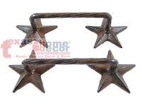 2 Rustic Western Cast Iron Star Door Handles Drawer Pull Cabinet Hardware Screws