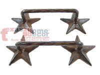 2 Rustic Western Cast Iron Star Door Handles Drawer Pull Cabinet Hardware Screws