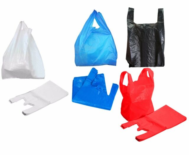 Blue Plastic Vest Carrier Bags Strong Small Medium Large New