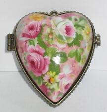 Herz Dose mit Bilderrahmen, Anhänger, Rosendekor, Porzellan, 7x6x4cm