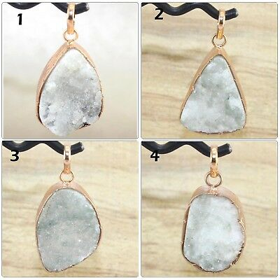 Pointed Natural Crystal Quartz Agate Druzy Silver Plated Pendant Fashion Jewelry