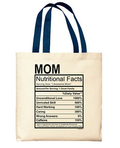 Details about New Mom Gifts Mom Nutritional Facts Label Mom Gifts Funny Mom  Canvas Tote Bag