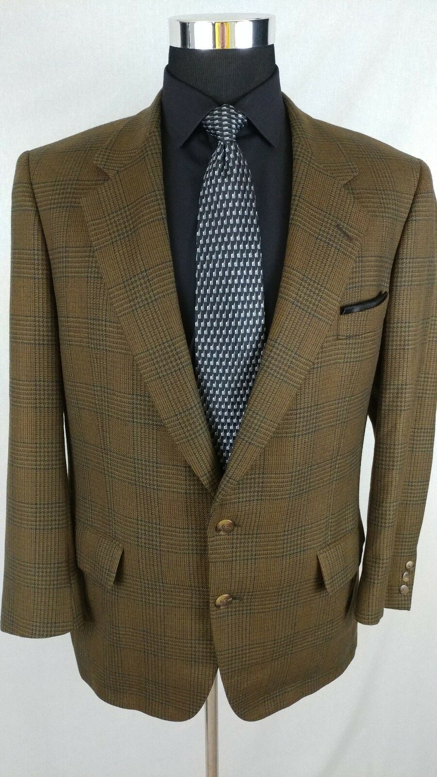 Samuelsohn  Herren 2 Button Cashmere Wool Grün Glen Plaid Blazer Sport Coat Sz 42R