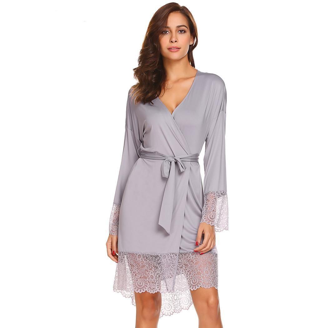 Women Sleepwear Sexy Lingerie Long Sleeve Lace Nightgown Nightwear Robe Pajamas
