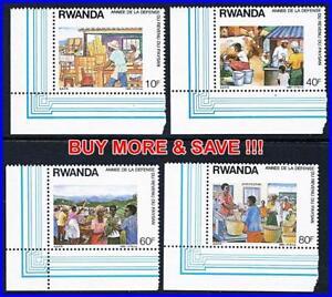 RWANDA-1988-RURAL-ECONOMY-MNH-CORNER-MARGINS-CATTLE-FOOD-ANIMALS