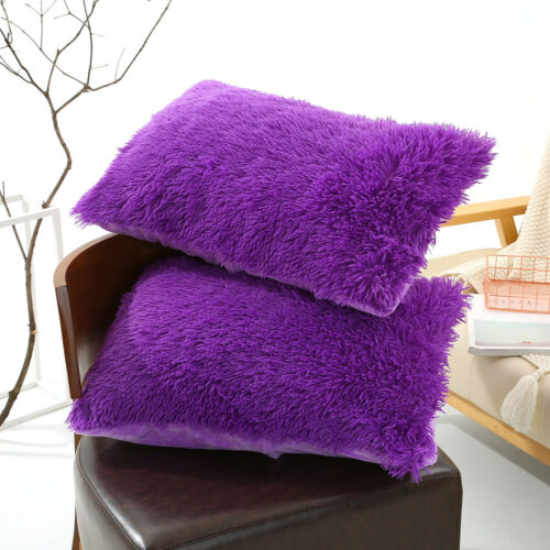 Faux Fur Fluffy Plush Throw Pillow Cases Shaggy Soft Chair Sofa Cushion Cover
