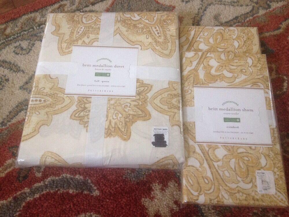 Pottery Barn Britt Medallion Duvet Cover 2 Standard Shams gold Full Queen Yellow