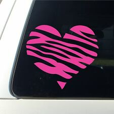 Zebra Print Heart Car Decal / Sticker Girl Lips New mark - HOT PINK live laugh