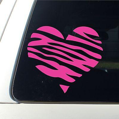 Zebra Print Heart Car Decal / Sticker Girl Lips New mark - HOT PINK live laugh